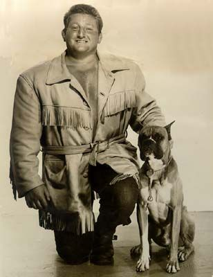 1954 Wrestler Eric Yukon and his Boxer dog Tex