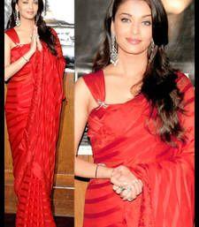 Buy Aishwarya Bollywood Replica Red plain net saree with blouse aishwarya-rai-saree online