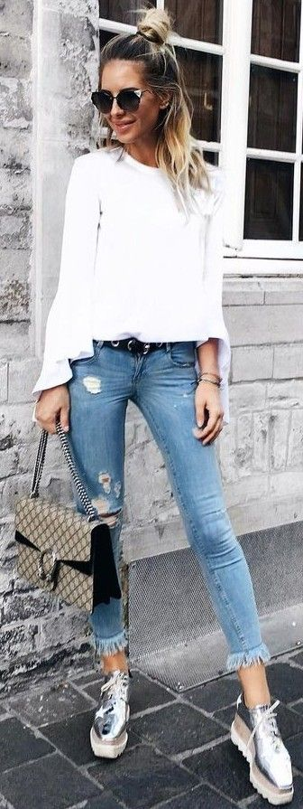 #summer #hot #outfits |  White + Denim
