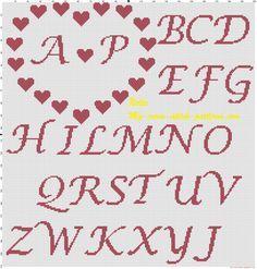 Portafedi cuore con cuori e iniziali schema punto croce gratis
