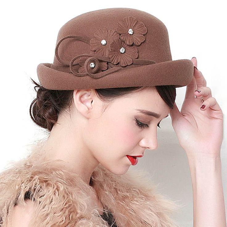 High Quality Dome Fedora Hat Banquet Wedding Ladies Church Hats for Black Women Formal Wool 100% Felt Hat Hair Accessory Cap