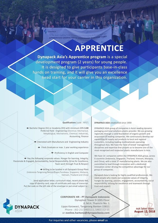 Dynapack Indonesia Is Opening Vacancy As Apprentice With Bachelor Degree S1 Or Academy D3 For Fresh Grad Or Max 1 Year Experience Http Bit Ly 2mnfh92