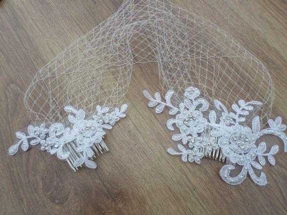 Birdcage Veil Wedding Veil Vintage Style by MagicBluebellDesigns