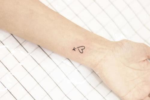 mini tattoo wrist airplane heart