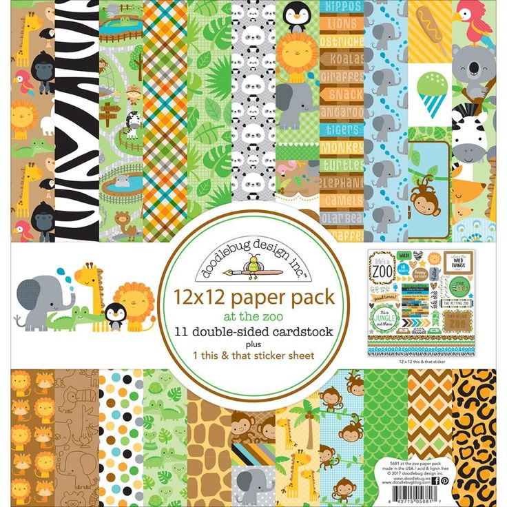 """Doodlebug Design At The Zoo Collection Scrapbook 12"""" x 12"""" At The Zoo Paper Pack by ThePlaidDaisyShop on Etsy"""