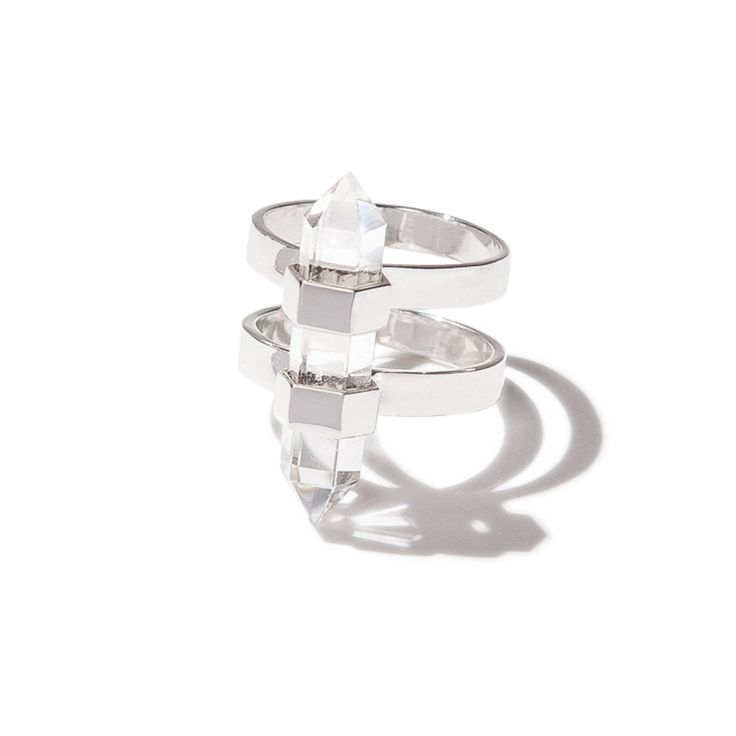 Harmony double pointed ring - silver | $89. Dual banded ring crafted in .925 sterling silver with beautiful double-pointed clear quartz crystal stone detail. Shop now: http://www.savethelastpinker.com.au/shop/harmony-double-pointed-ring-silver/