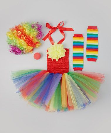 Take a look at this Rainbow Clown Tutu Dress Set - Toddler & Girls by Tutu Mania on #zulily today!