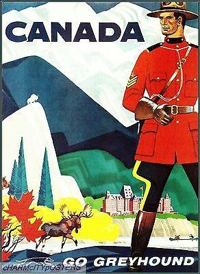 Canada 1960 Go Greyhound Vintage Travel Poster Art Print Canadian Mountie