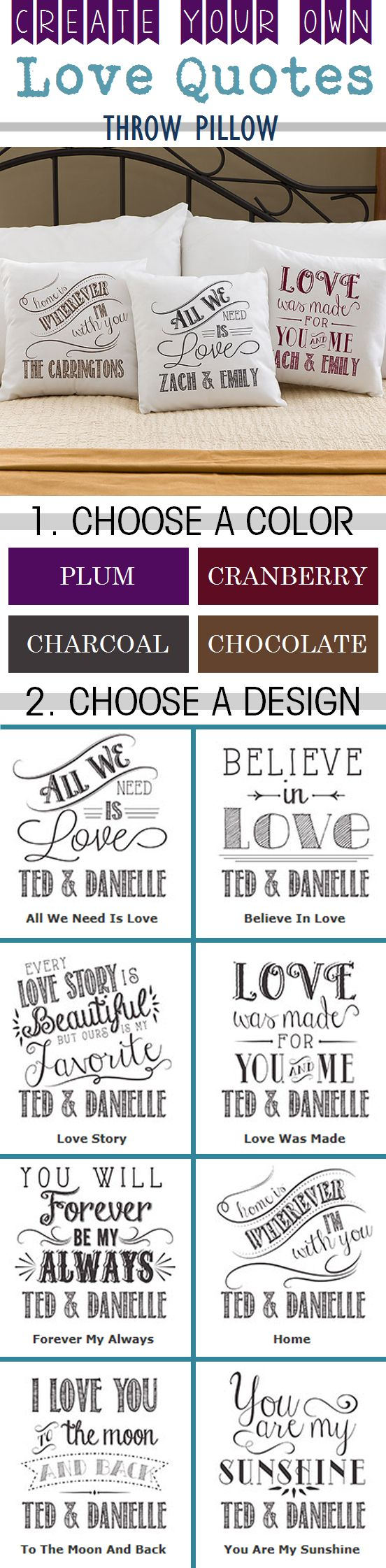 """LOVE LOVE LOVE this """"Love Quotes"""" throw pillow! You get to choose any design and any color and then you can personalize it with any 2 names! Such a super cute and affordable wedding gift or Valentine's Day gift idea! #Wedding #ValentinesDay"""