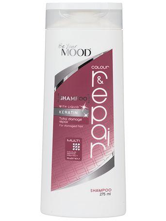 » SCHAMPO COLOUR & REPAIR Mood's hårvårdsserie är specialutvecklad för färgat hår. Schampo för strukturskadat och färgat hår, med keratin som reparerar och bygger upp håret. Innehåller aktiva ämnen som skyddar mot skadliga UV-strålar och värme. För optimal färgvård. Finns att köpa i dagligvaruhandeln.