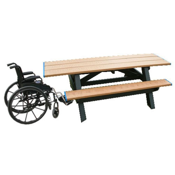 Outdoor Polly Products Standard Recycled Plastic Picnic Table - Double ADA Entry - ASM-SPT2HA-02-BLACK FRAME-BLACK TOP