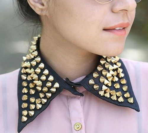 Trending gothic and alternative-fashion collar-style-necklaces with studs and spikes  via @Roposo