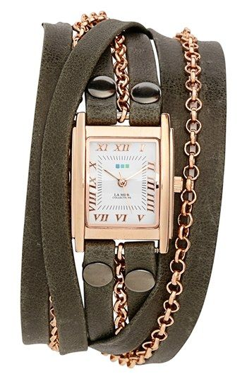 La Mer Collections 'Clifton' Square Wrap Watch, 22mm   Nordstrom