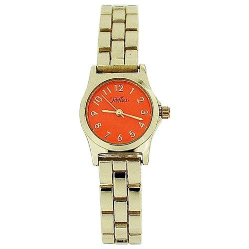 Reflex Ladies Analogue Orange Dial Yellow Tone Metal Bracelet Strap Watch LB109