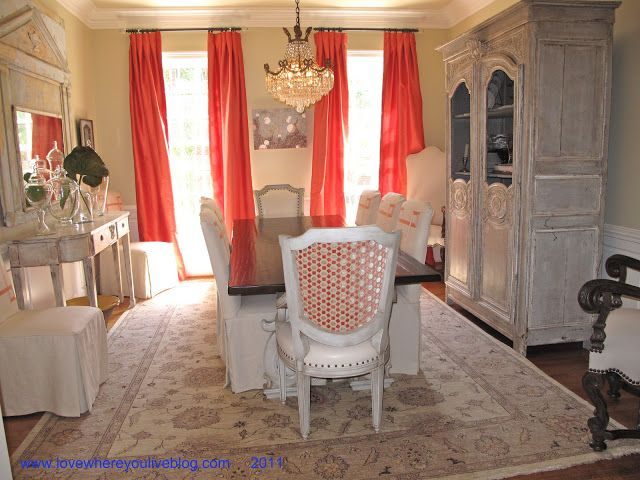 Coral And Tan Dining Room