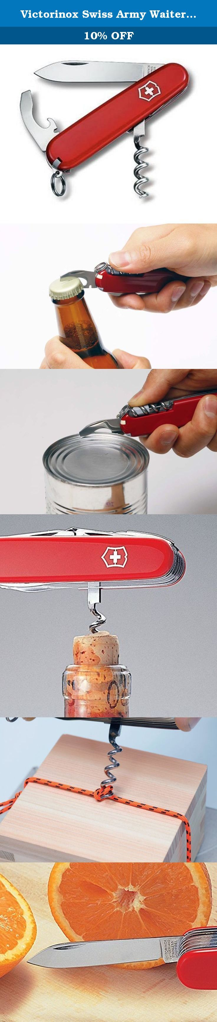 Victorinox Swiss Army Waiter Pocket Knife. The Victorinox Swiss Army Waiter Knife is designed for waiters, picknicking and wine connoisseurs. Features all the tools needed opening wine and pop-off top bottles or cans.