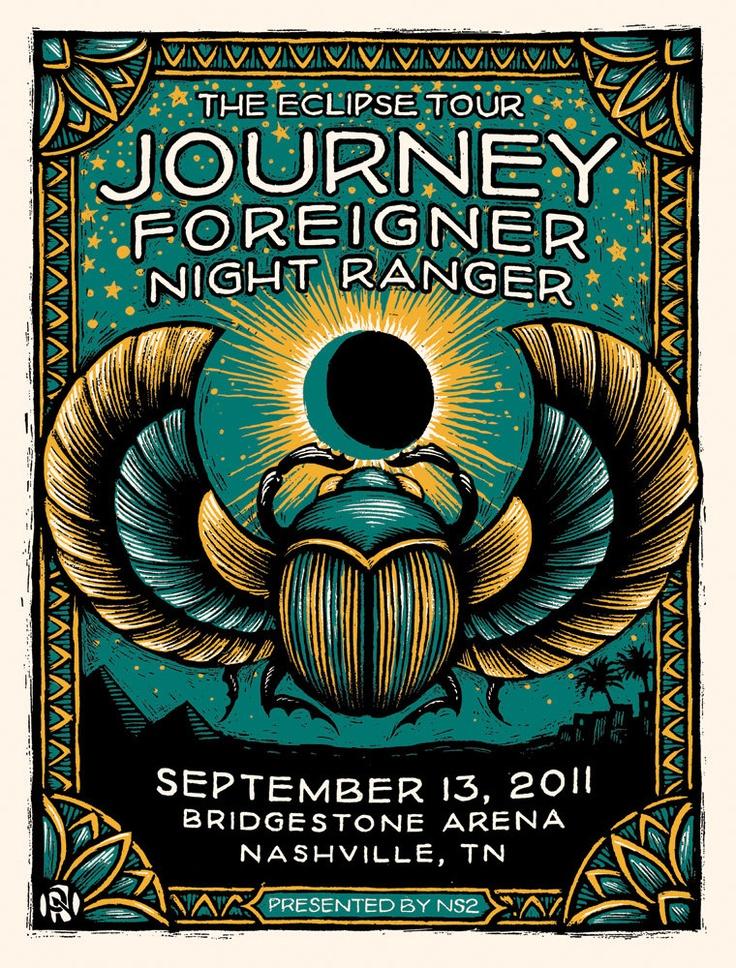 Journey/Foreigner/Night Ranger Silkscreen Poster. $30.00, via Etsy.
