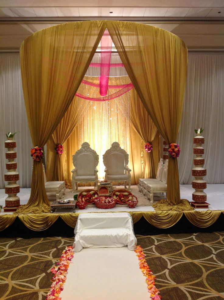 Indian wedding mandap, indian wedding decor, gold and pink mandap created by @Alankar Padman Event Planners & Decorators , in Massachusetts