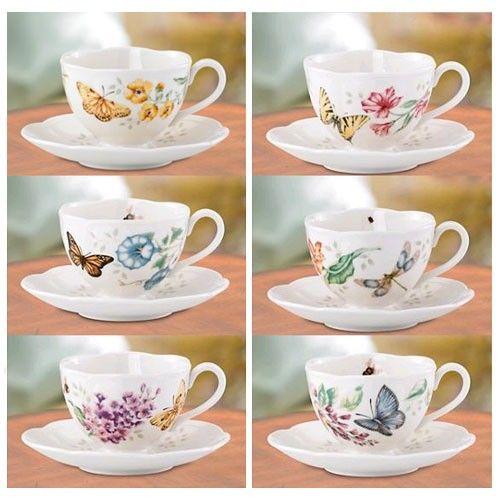lenox butterfly meadow cup u0026 saucer set of 4 - Lenox Dinnerware