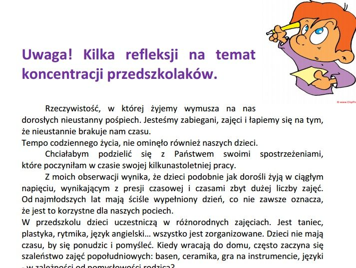 Uwaga! Kilka refleksji na temat koncentracji przedszkolaków