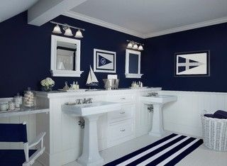 navy/white concept. like the cabinets and marble. like the