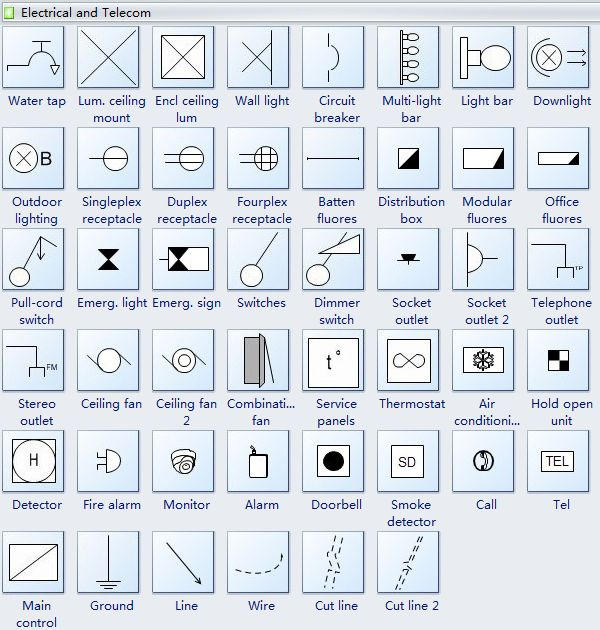 Reflected ceiling plan symbols electrical telecom for Interior design layout symbols