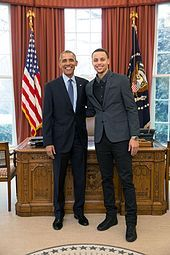 Stephen Curry - Wikipedia, the free encyclopedia.   Curry with President Barack Obama during a visit to the White House in 2015 to launch the President's initiative on malaria.