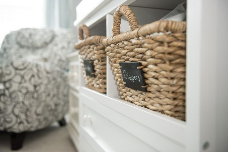 Fantastic woven baskets with chalkboard label = perfect for #nursery #organization! {You can score these at @Target!}