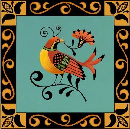folk-art-bird-blue-background
