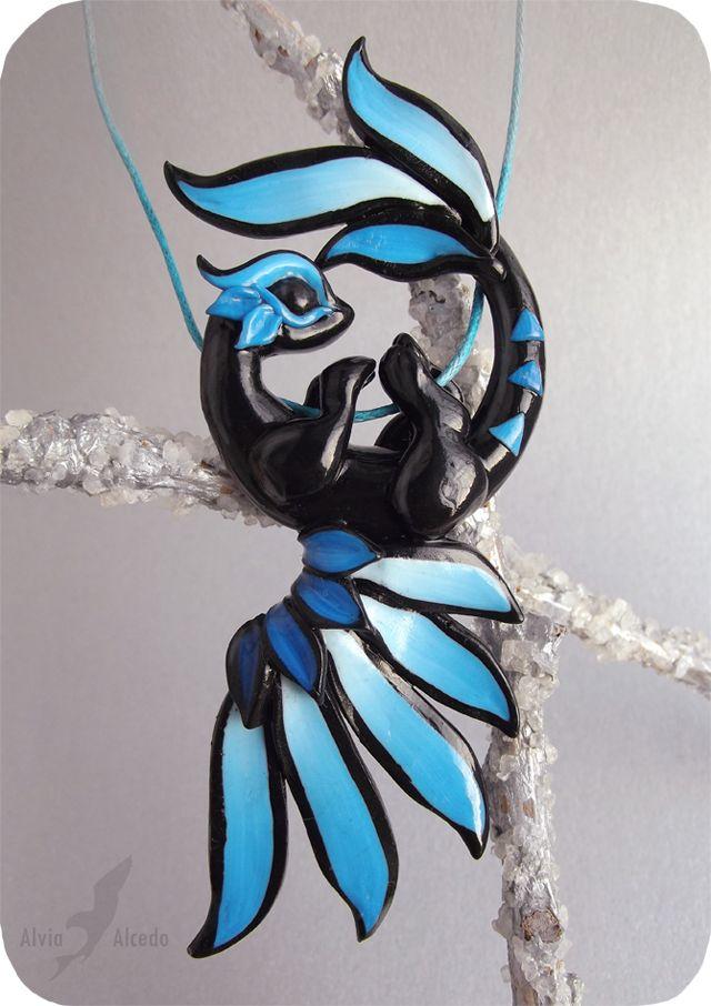 Electric blue thunder dragon necklace by AlviaAlcedo.deviantart.com on @deviantART