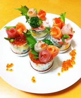 *★簡単カワイイ♪お花のカップ寿司★*。