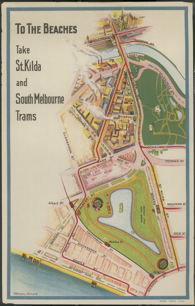 1930s poster by Vernon Jones for the Melbourne & Metropolitan Tramways Board. From the Vernon Jones collection, State Library Victoria.