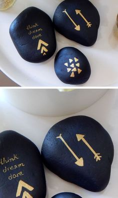 Black & Gold Painted Pebbles   DIY Home Decor Ideas on a Budget   DIY Projects for the Home Dollar Store
