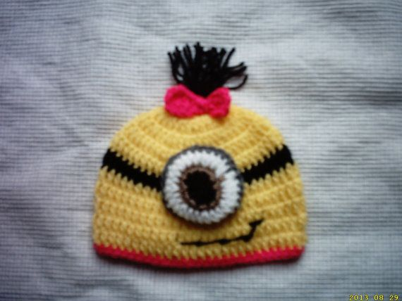 crochet photo prop new born baby  despicable me by crochetfifi, $14.00