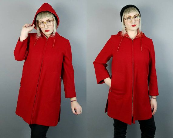 50s 60s Vintage red wool hooded jacket, 1950s Little Red Riding Hood full zip up A Line jacket, Unisex medium long wool overcoat fall winter