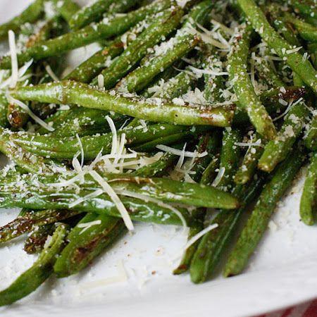 Parmesan  Green Beans 12oz green beans,  2 tsp olive oil kosher salt + fresh cracked pepper to taste ¼ tsp garlic powder 1½ tbsp shredded parmesan 425 for 15 mins...turn half way.