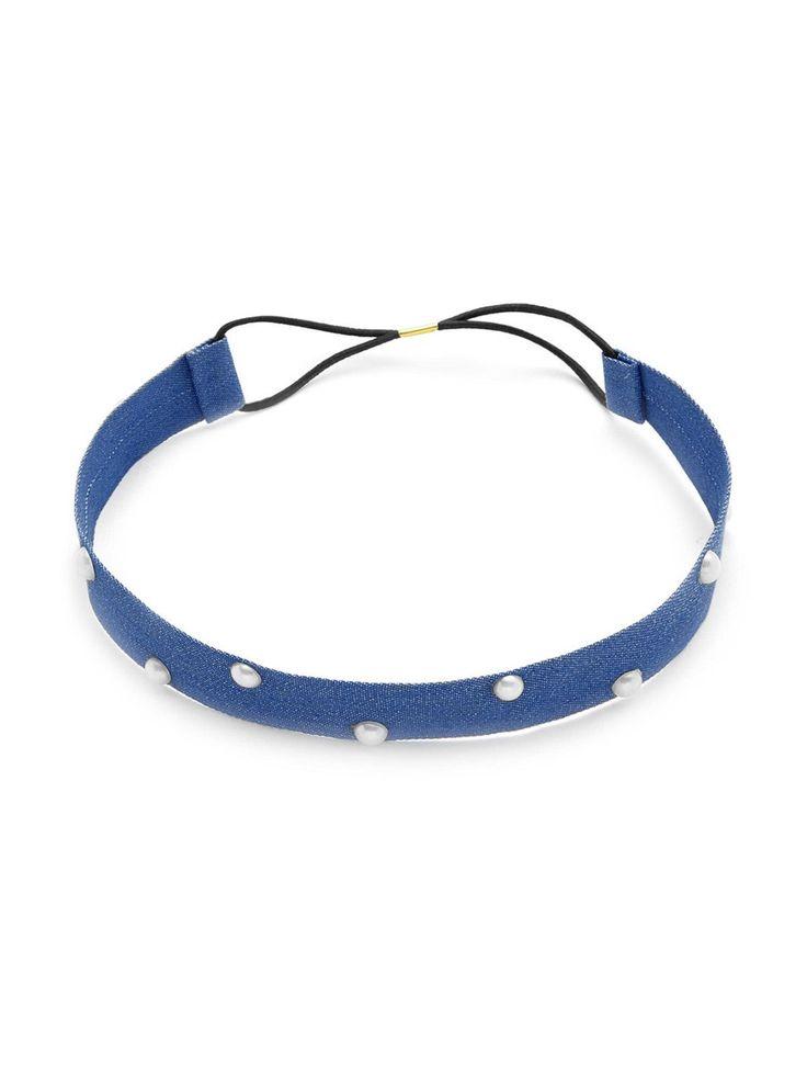 Faux Pearl Denim Headband