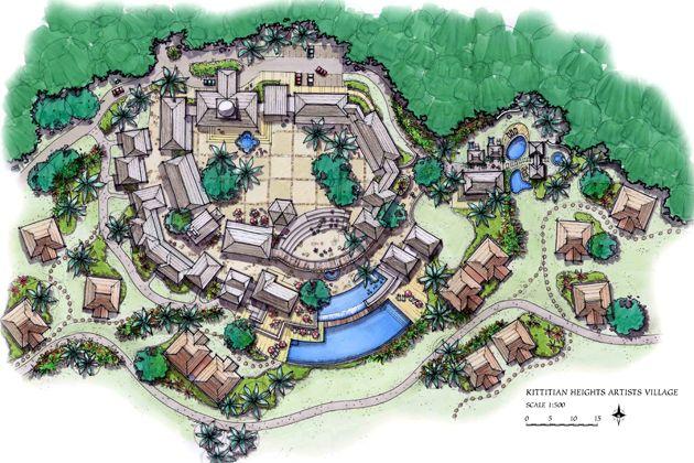Resort masterplan - EA|Kittitian hill, St. Kitts, Caribbean, Cottage design, Hill side Development