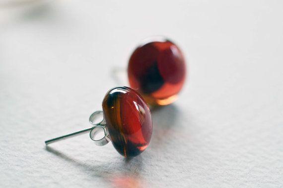 925 argento Orecchini a Bottone in vetro colore rosso and