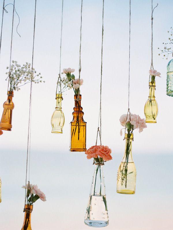 Hanging Vases With Flowers | Angga Permana Photo on @polkadotbride via @aislesociety