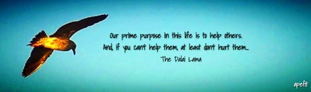 October 30, 2015 Our prime purpose in this life is to help others. And, if you can't help them, at least don't hurt them...  The Dalai Lama