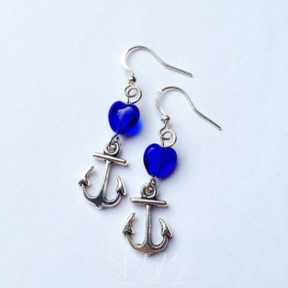 Rockabilly Blue Heart Anchor PinUp jewelry Vintage Retro by sp573