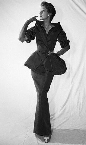 1954 Christian Dior peplum evening suit with portrait collar