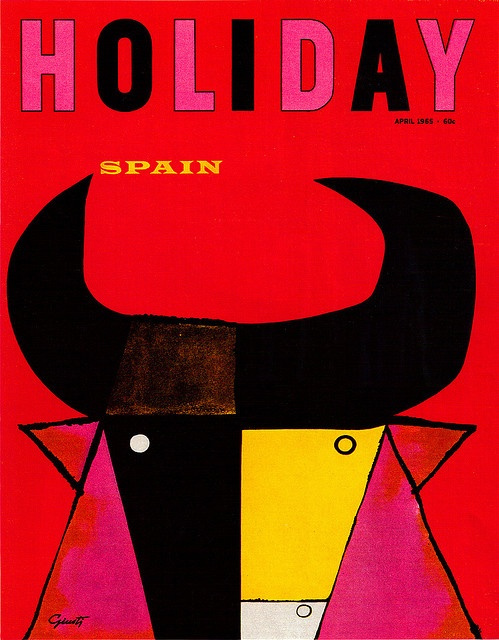 George Giusti illustration, cover of Holiday magazine, from Graphis Annual 66/67