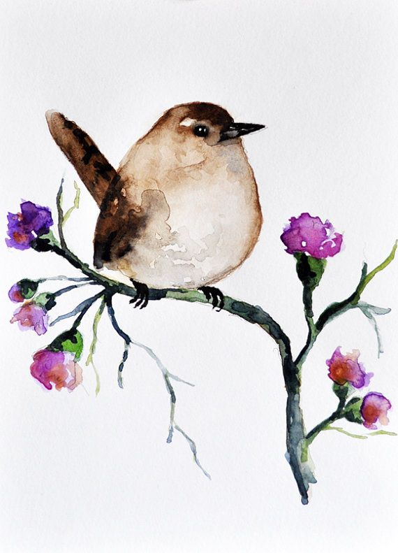 Sparrow and flowers ORIGINAL Watercolor painting by ArtCornerShop, $40.00