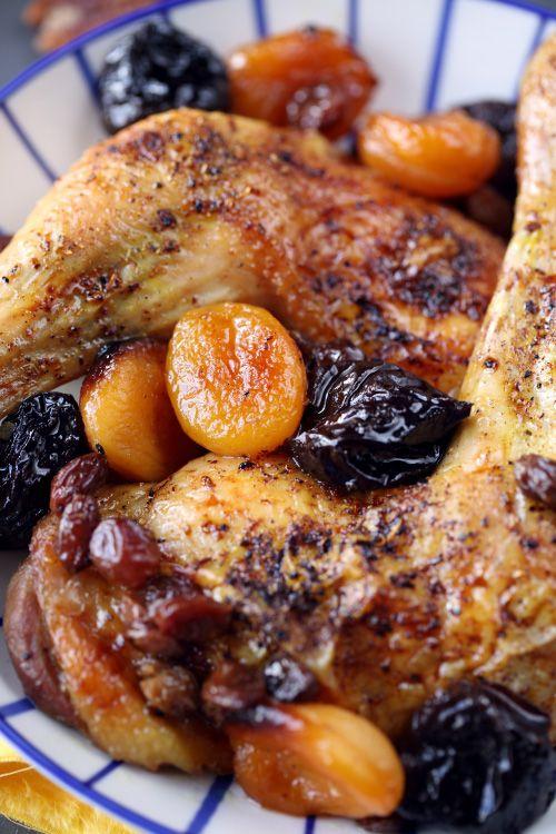 Cuisses de poulet rôties aux fruits secs, pilaf de riz aux noix de Pécan
