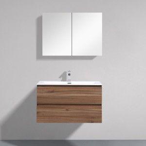 Angela 80 Cm Walnut Wall hung Vanity - Thin Basin 10mm