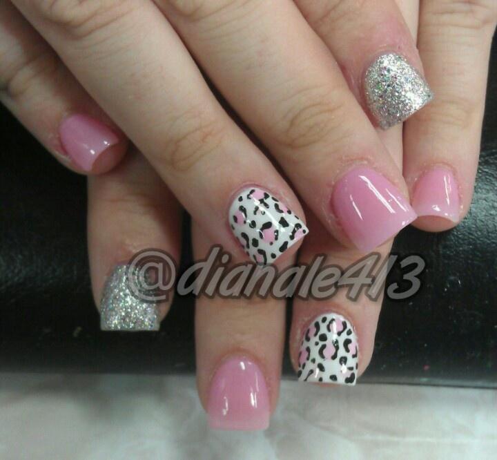 pink silver glitter & leopard