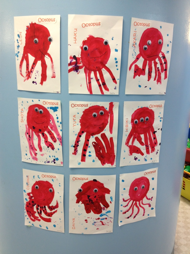 Octopus craft - get a circle stencil for the kids to paint over. Then have them use a paint brush for the tentacles.