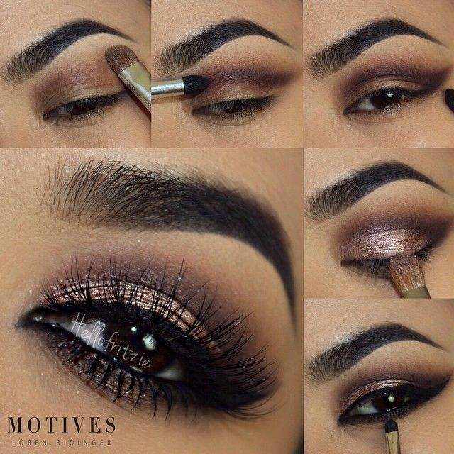 1. apply 'cappuccino' above the crease as a transition shade and 'cream' on brow bone from palette 2. take 'vino' and apply on the crease are and outer V then blend 3. from palette, take 'dazzle' and pat it on lid 4. line with 'little black dress' gel liner 5. 'use 'espresso' on lower lash line ______________________________________ All #motives products are availabl